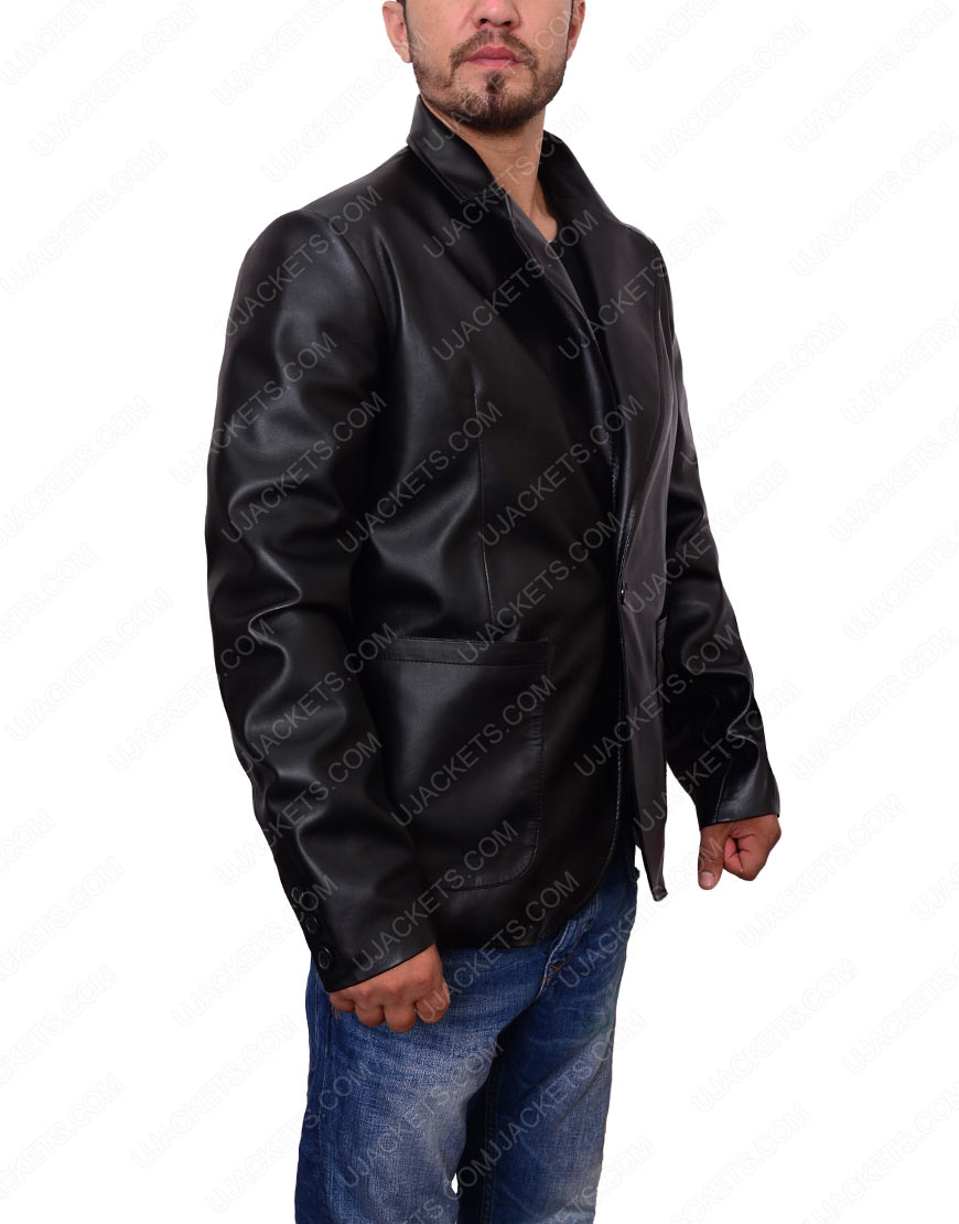 Casual Black leather Blazer For Mens
