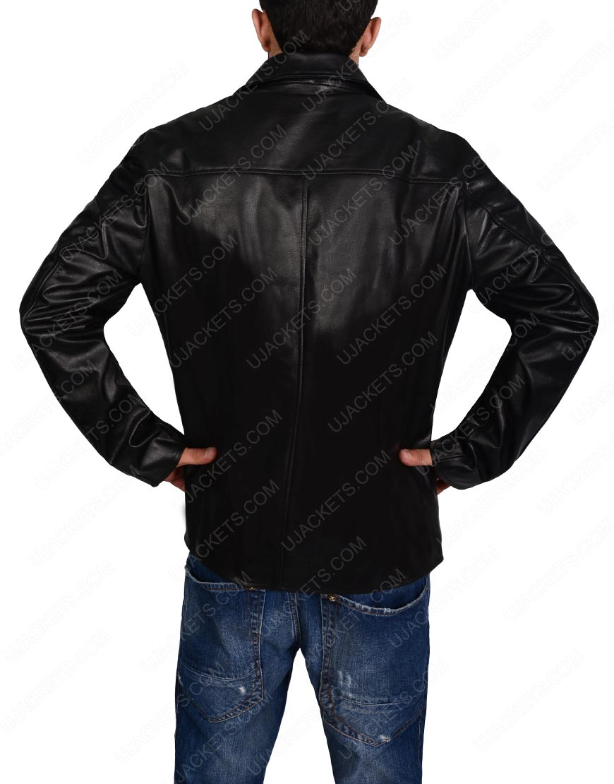 black biker slim fit jacket for mens
