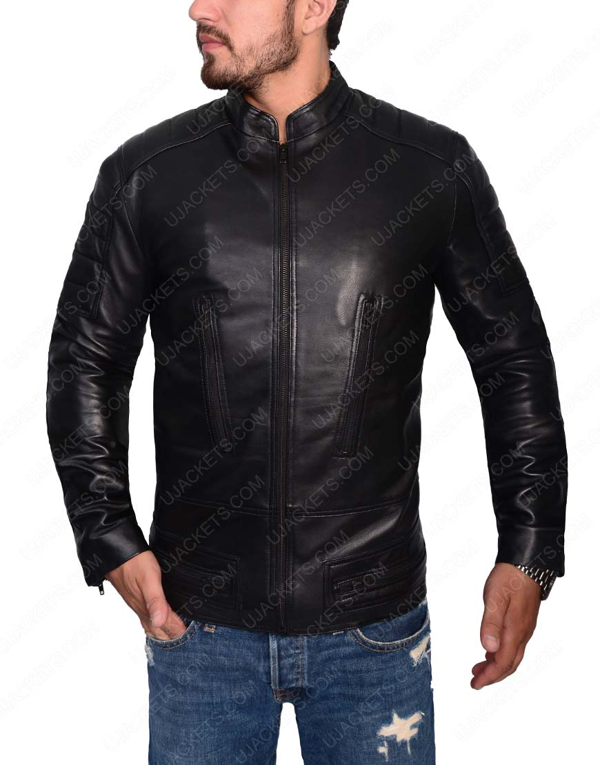 Slim Fit Cafe Racer Black Jacket for Mens