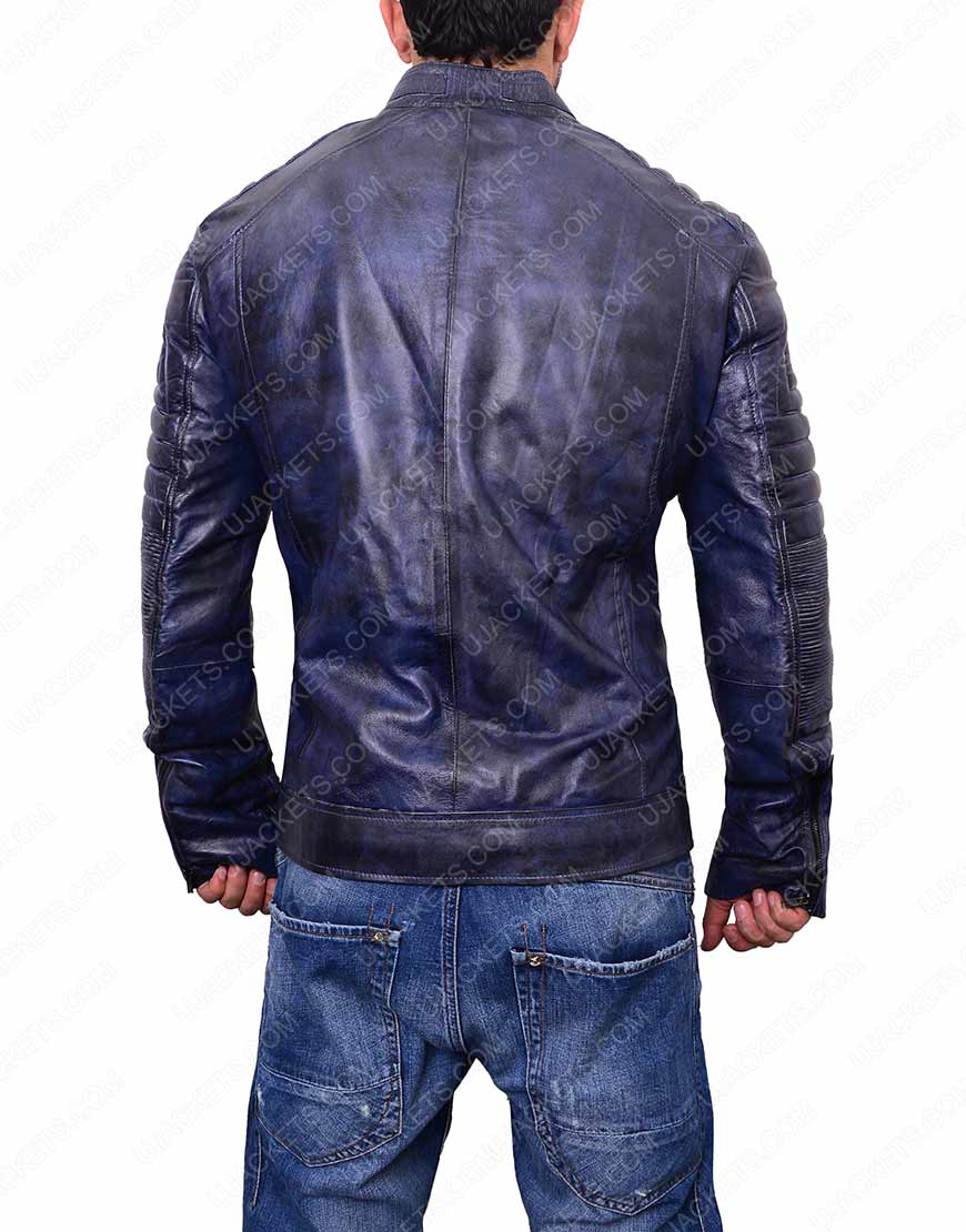 mens cafe racer blue waxed jacket