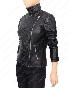 Womens Quilted Black Motorcycle leather Jacket