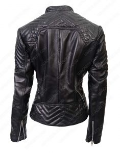 Black Quilted Leather Moto Jacket For Womens