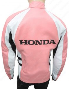 womens pink honda leather jacket