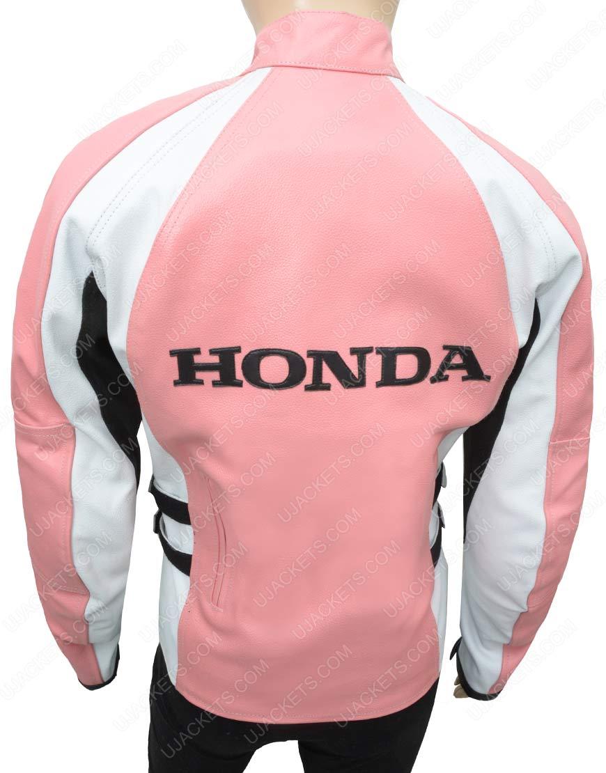 womens pink honda leather jacket