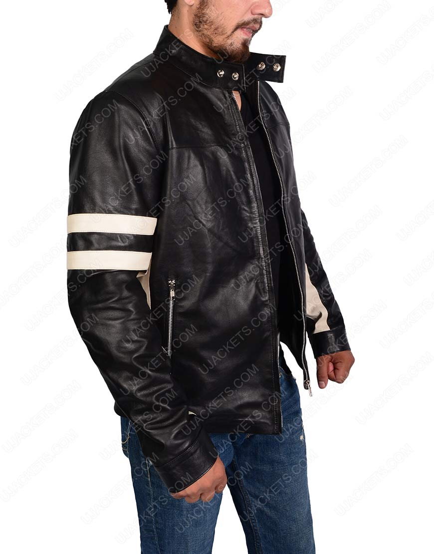 Mens Black Cafe Racer Retro black leather Jacket