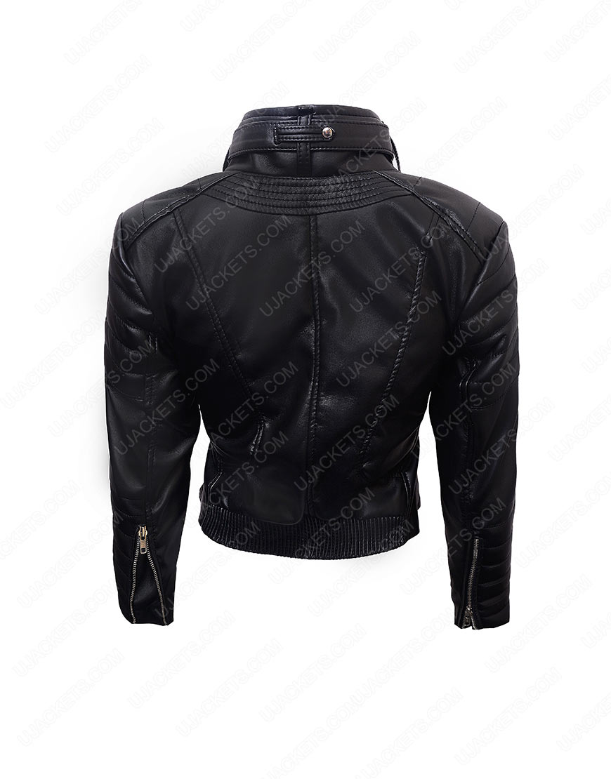 womens biker cropped jacket