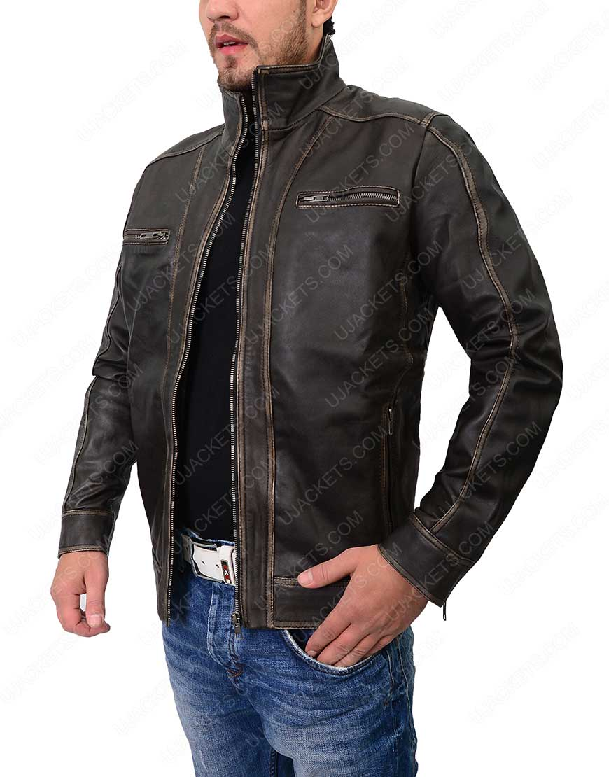 mens distressed café racer leather jacket