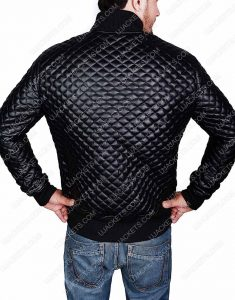 Slim Fit Black Leather Quilted leather Jacket For Mens