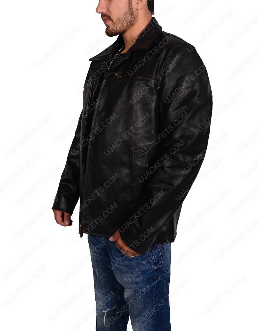 slim fit black biker jacket for mens