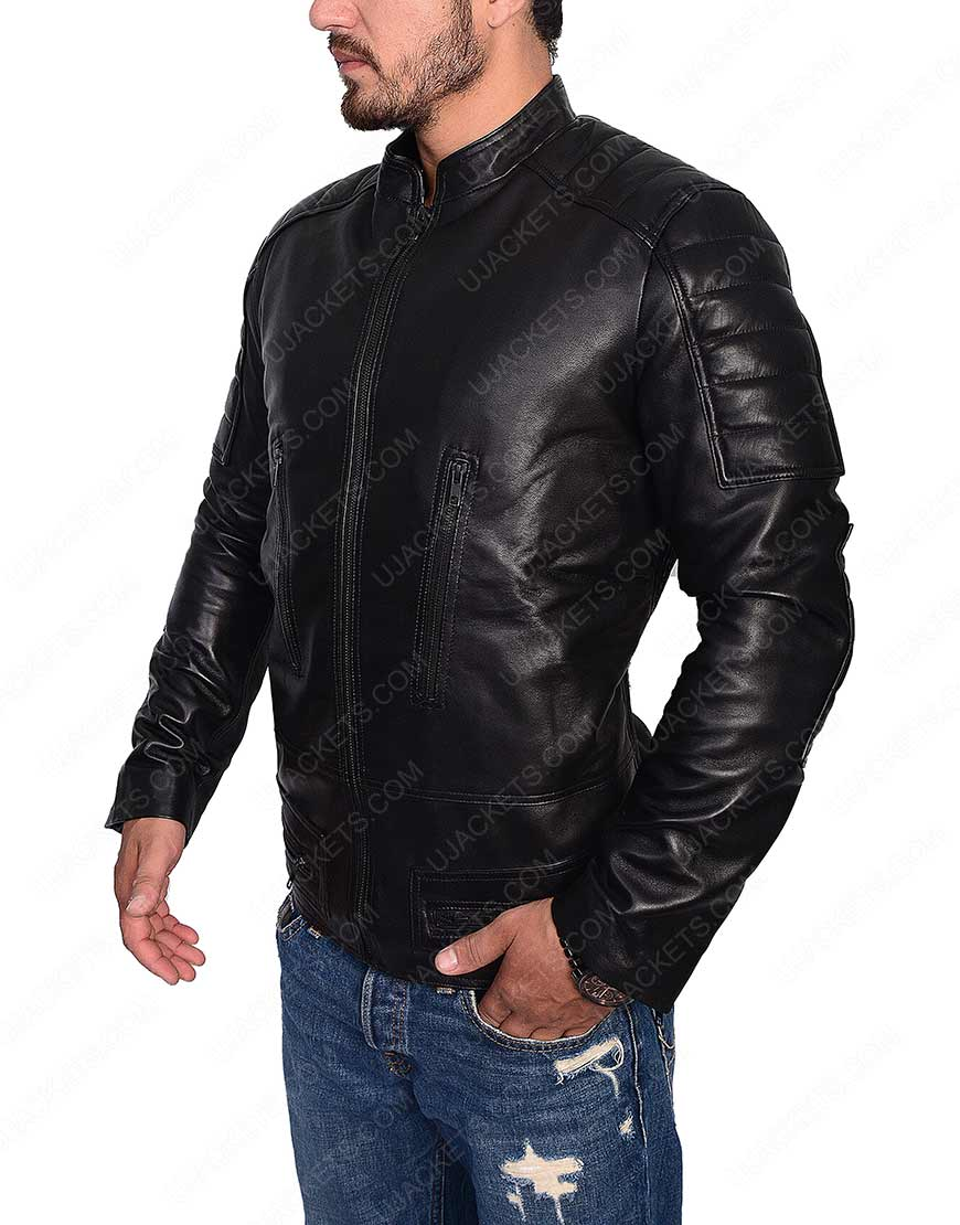 Slim Fit Cafe Racer Leather Jacket