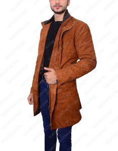 Robert Shariff Brown Leather Long Jacket Coat