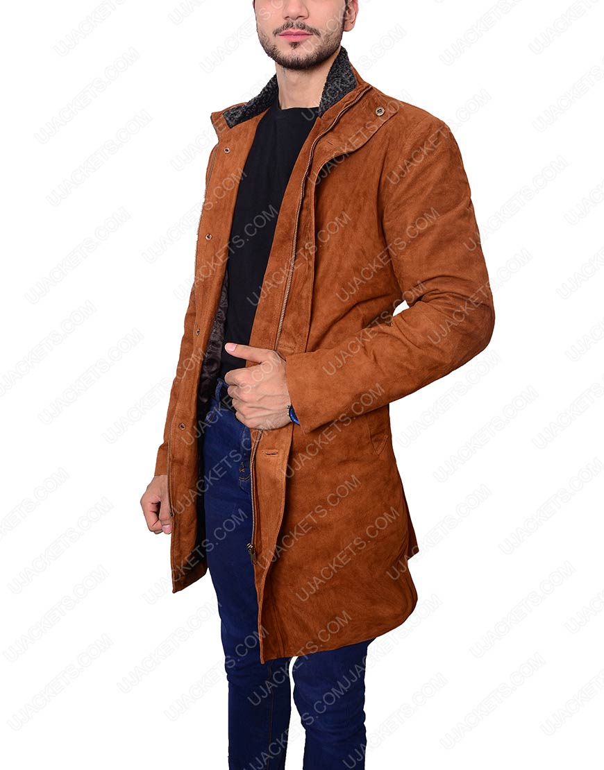Robert Shariff Brown Leather Long Jacket Coat