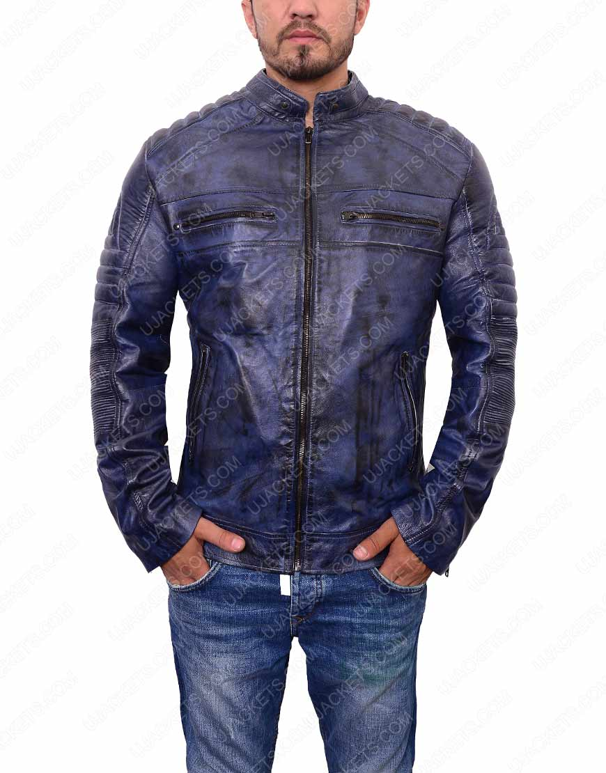 mens cafe racer blue waxed leather jacket