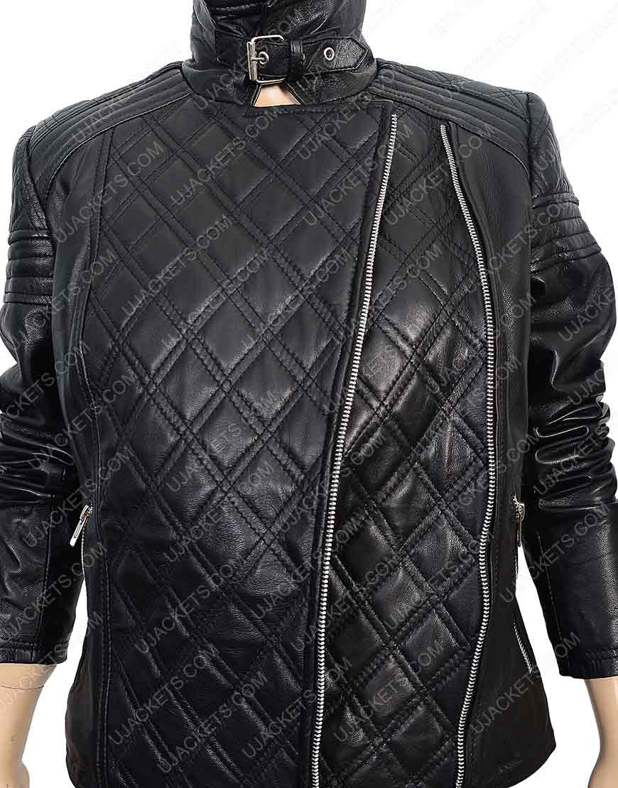Black Quilted Motorcycle Jacket for Womens