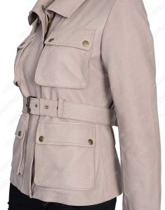 Womens Four Pocket Stone Color Leather Coat