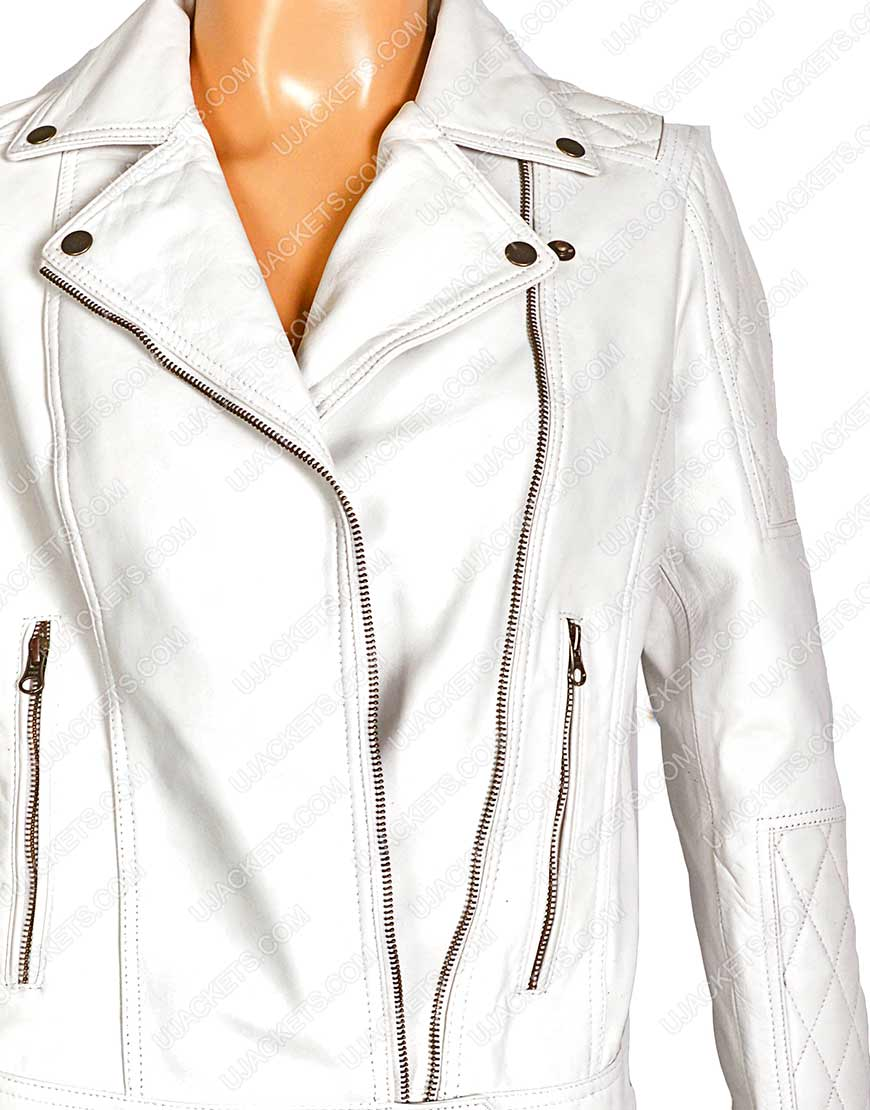 womens white quilted motorcycle jacket