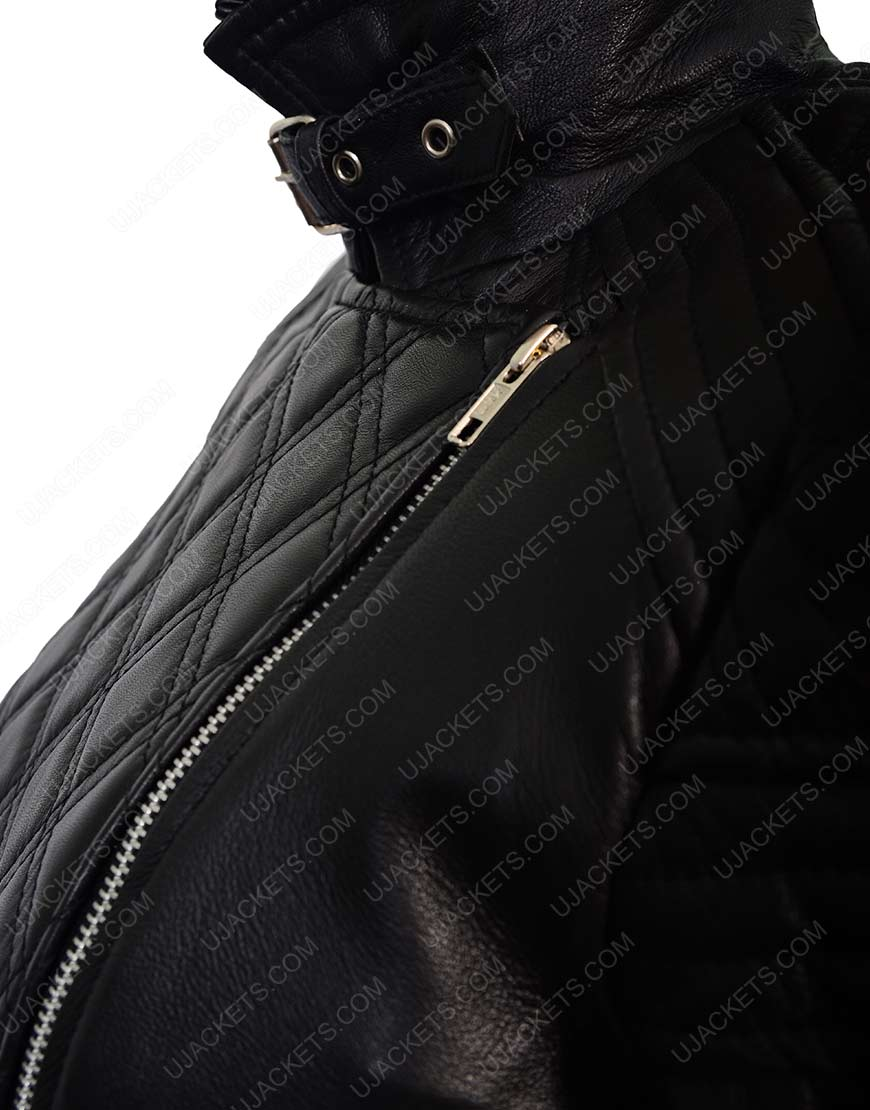 Black Quilted Motorcycle leather Jacket for Womens