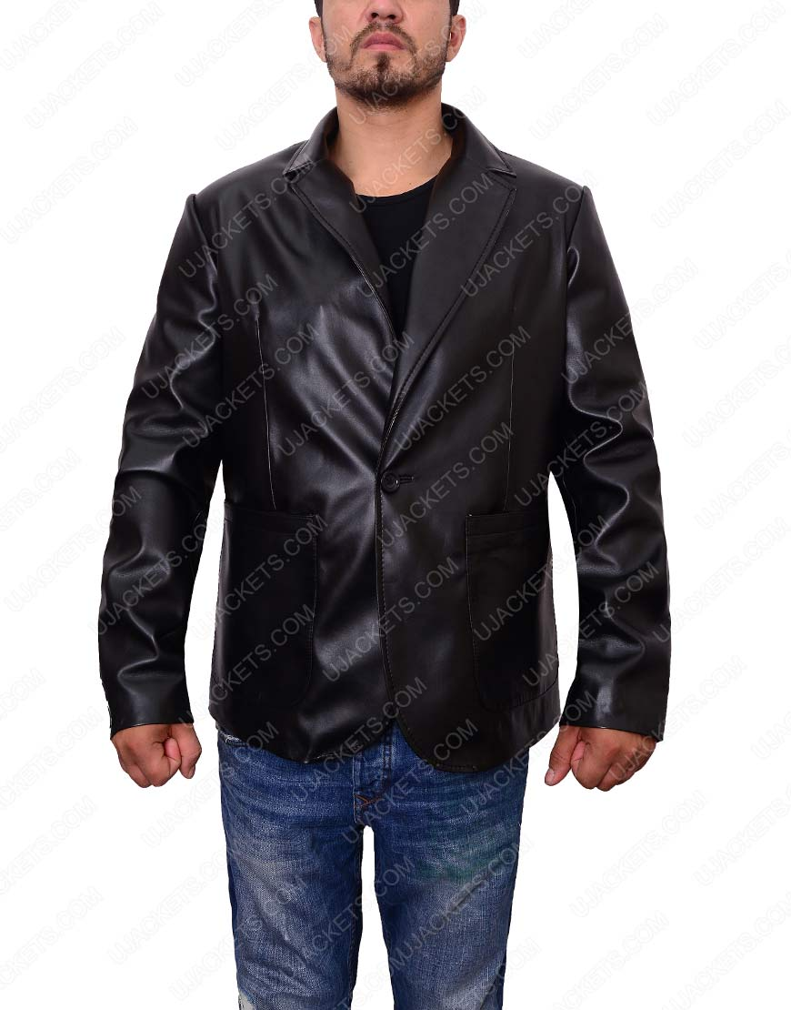 mens casual black leather blazer jacket