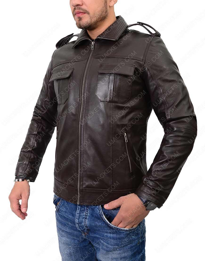 Mens Casual Dark Brown Cafe Racer Jacket
