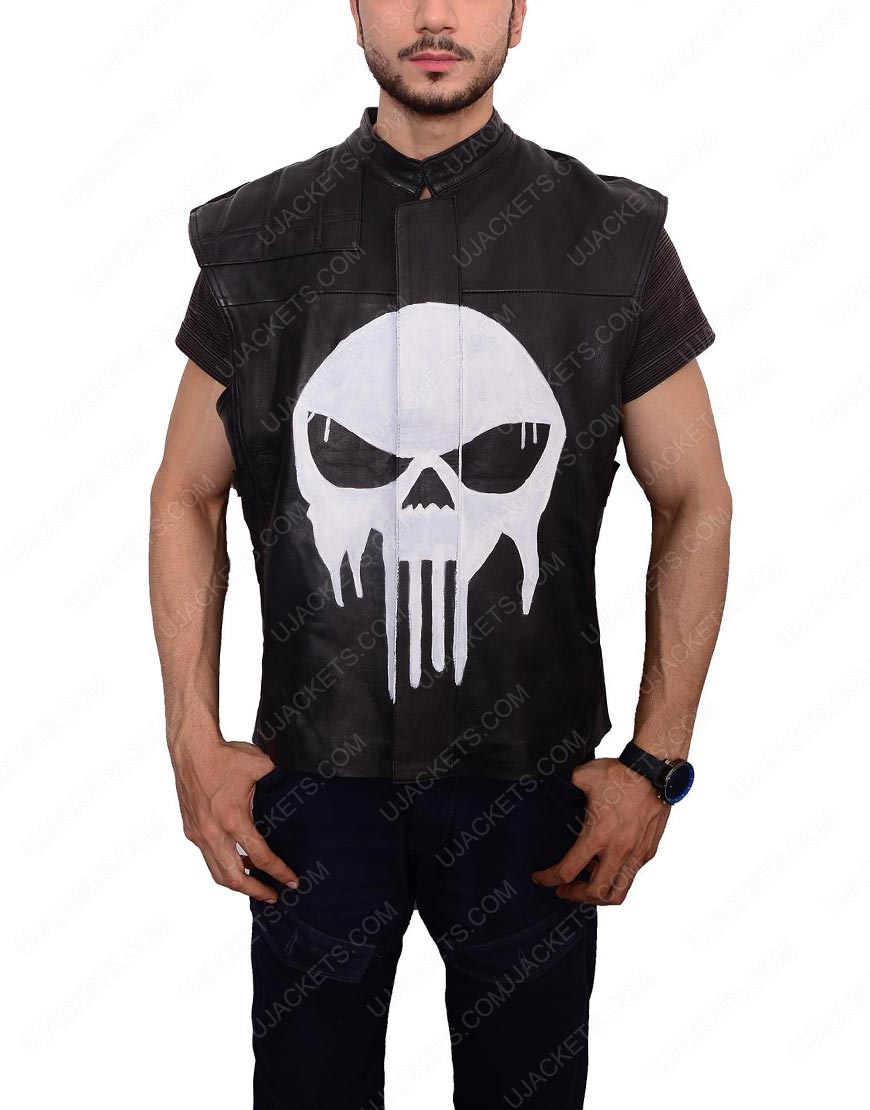 frank castle leather vest