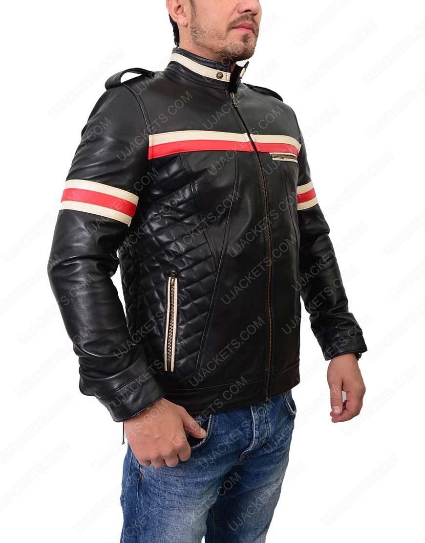 Slim fit Black Biker Leather Jacket