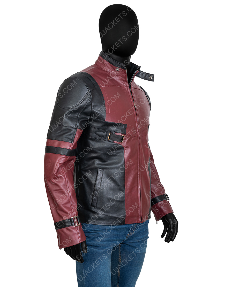 Wade Wilson Red And Black Deadpool 2 Leather Motorcycle Jacket