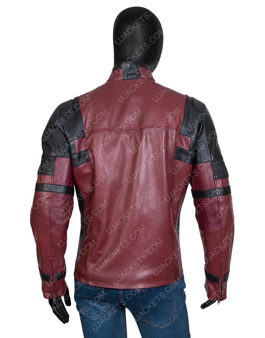 Wade Wilson Red And Black Deadpool Leather Motorcycle Jacket