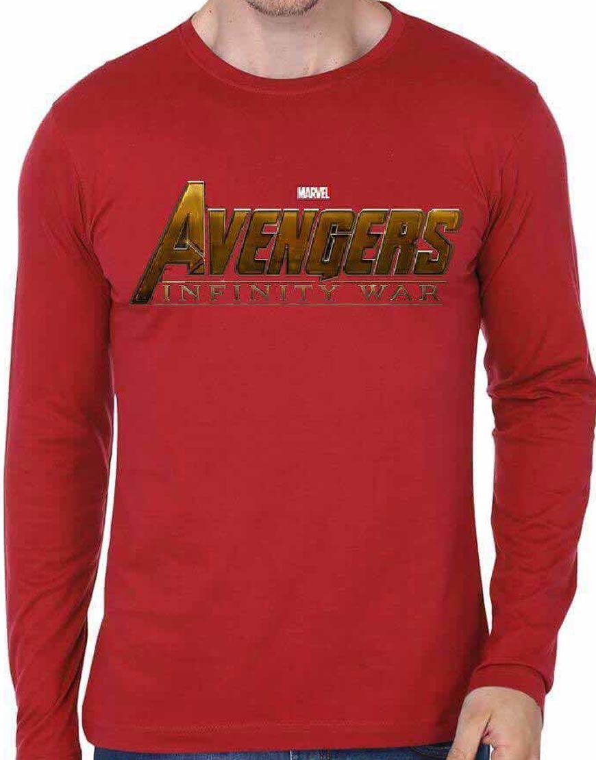 Avengers The Infinity War Red Full Sleeve T-shirt