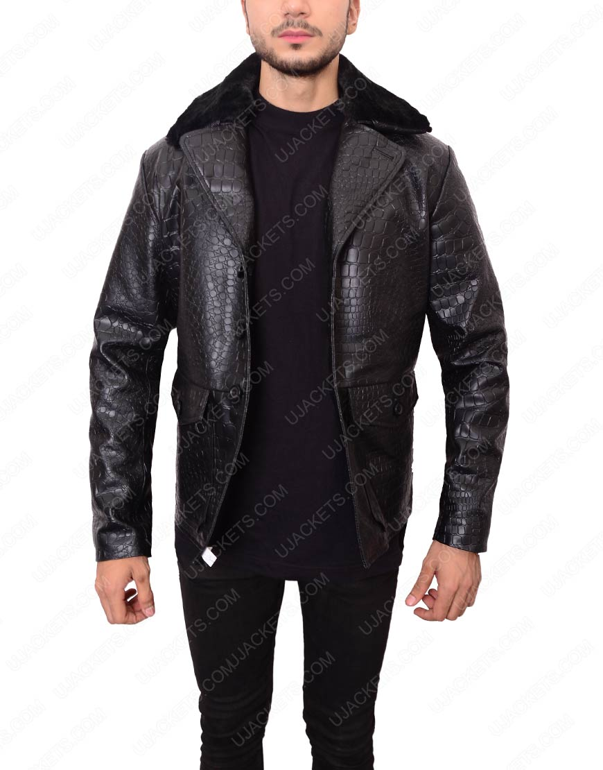 Embossed Crocodile Leather Jacket