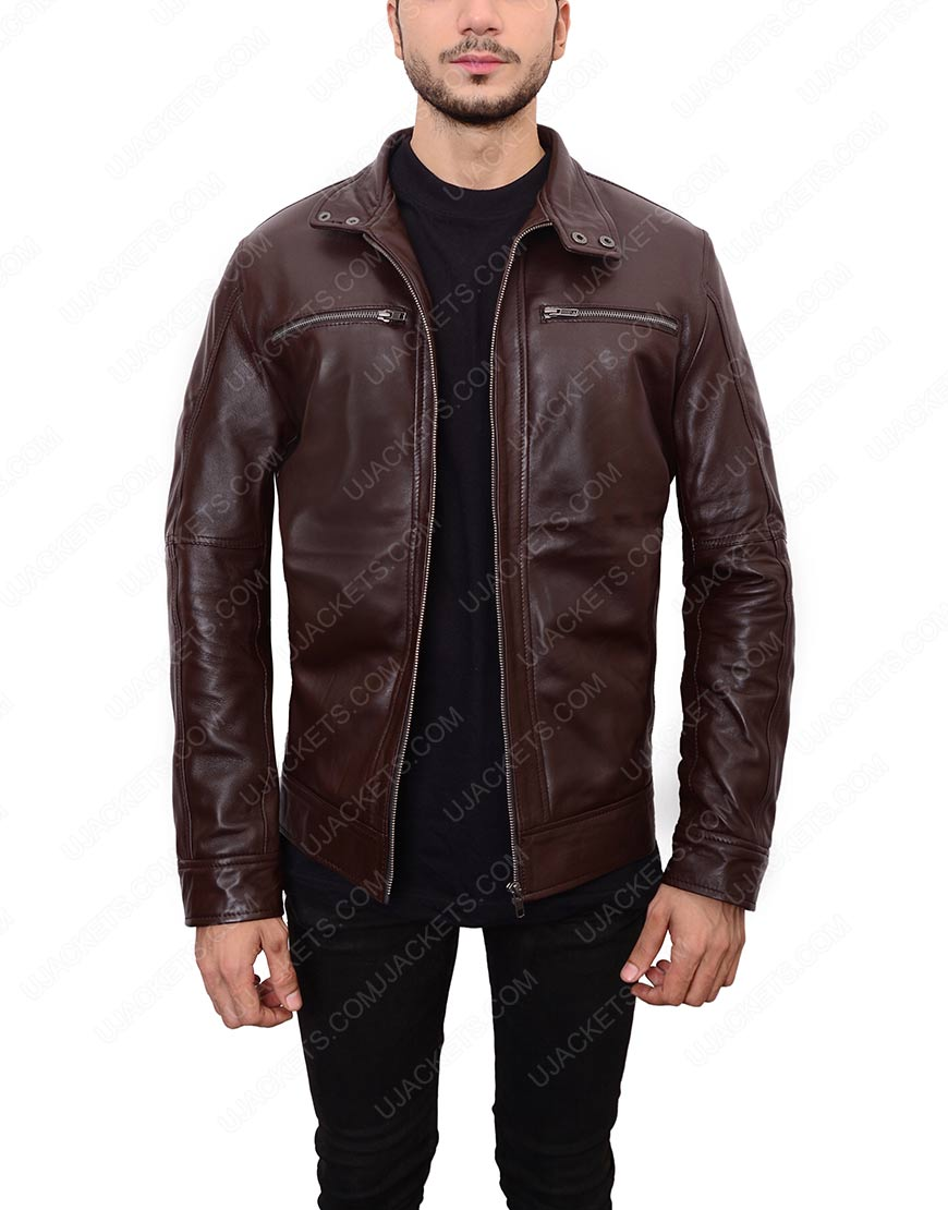 casual mens dark brown leather jacket