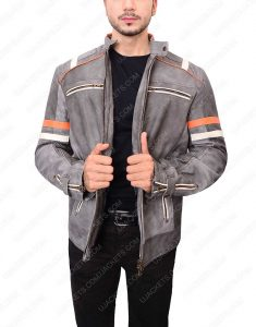 Cafe Racer Grey Waxed Jacket