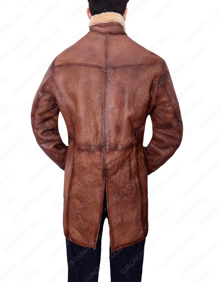 Mens Brown Shearling Trench Coat