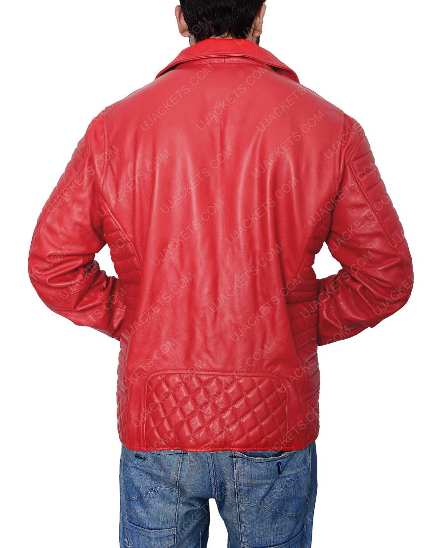 Men's Asymmetrical Red Biker Jacket