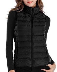 womens black puffer vest