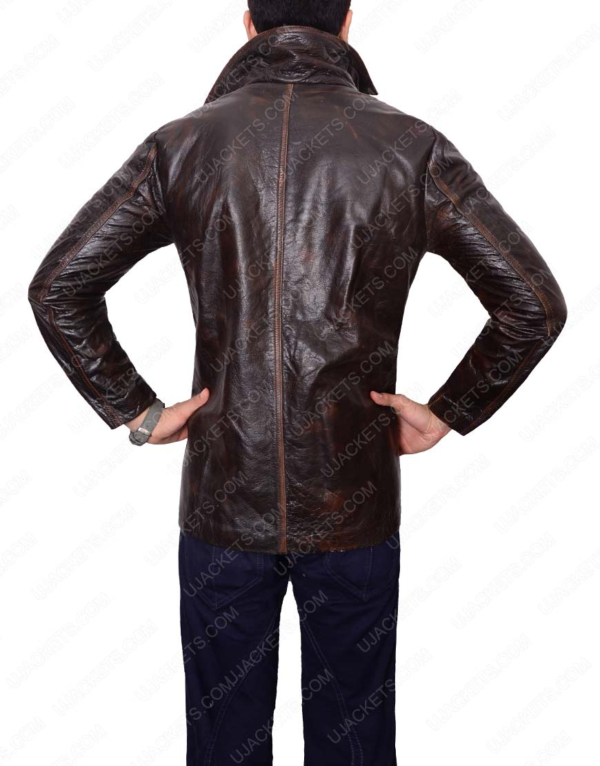 brown waxed leather jacket