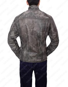 Mens Grey Waxed Biker Leather Jacket