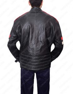 Cafe Racer white and red strip leather jacket