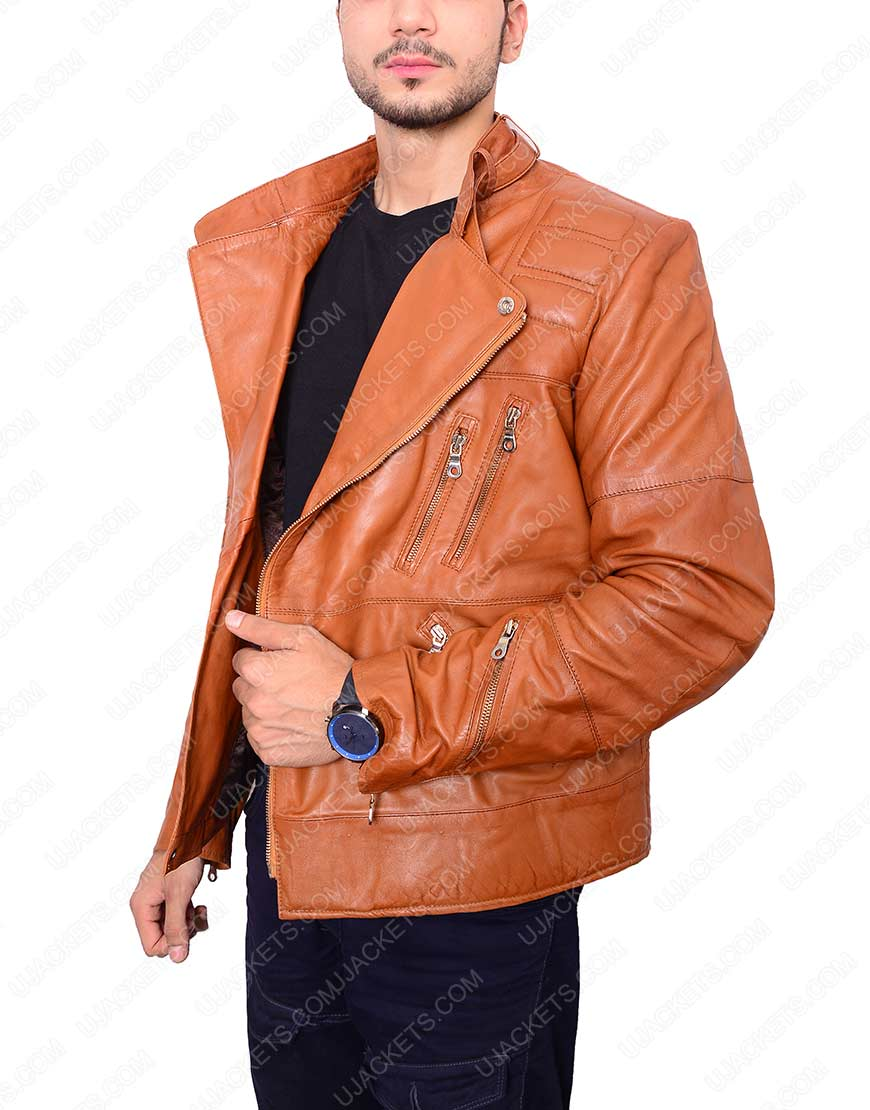 Mens Padded Brown Motorcycle leather Jacket