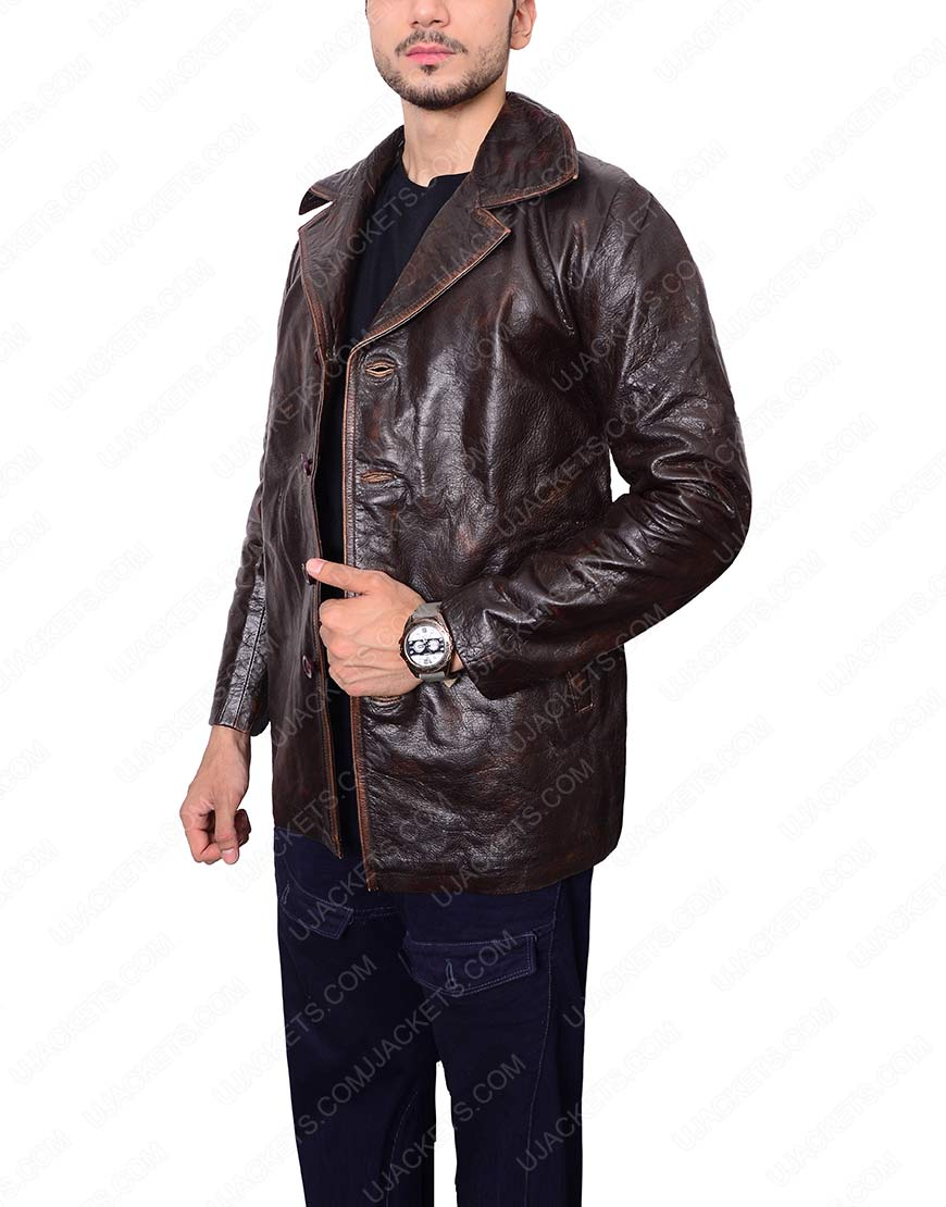 mens brown waxed leather jacket