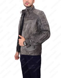 Mens Padded Motorcycle Leather Jacket