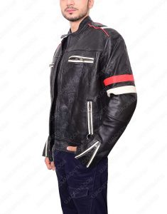 Cafe Racer jacket white and red strip