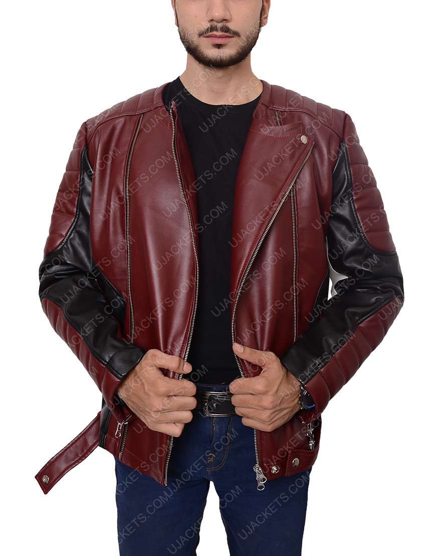 men maroon and black jacket