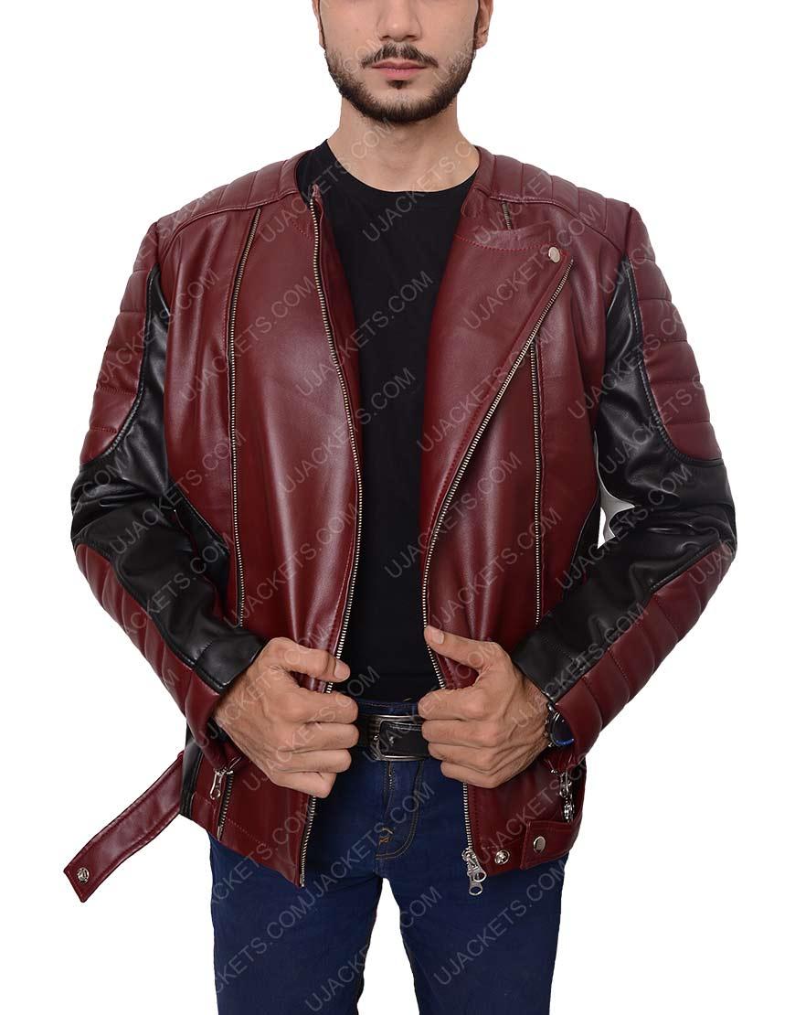 men maroon and black jacket