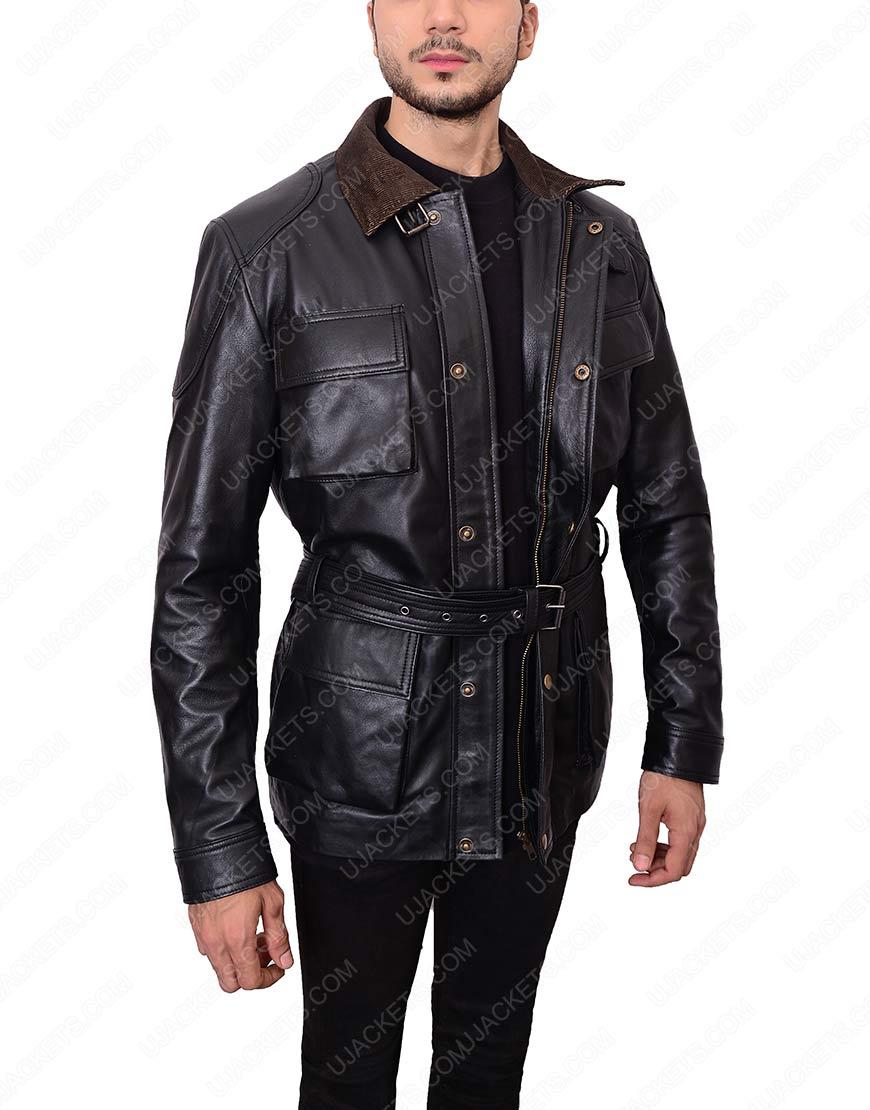 bane black leather jacket