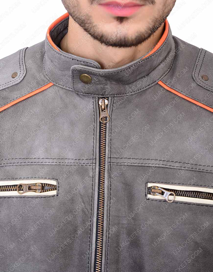 Cafe Racer Grey leather Jacket