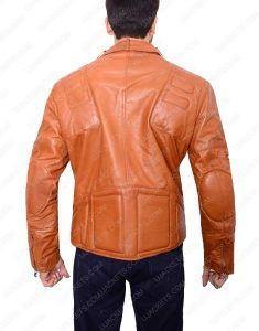 Padded Brown Motorcycle Leather Jacket