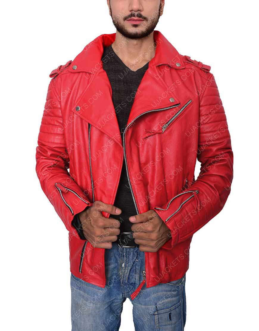 Mens Red Moto Jacket