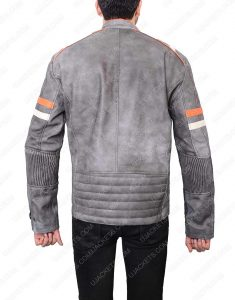 Cafe Racer Grey Waxed Leather Jacket
