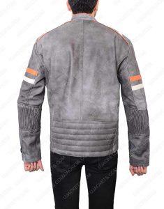 Cafe Racer Grey Waxed Leather Jacket