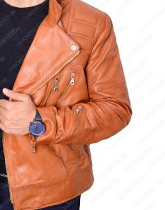 Padded Brown Motorcycle Jacket